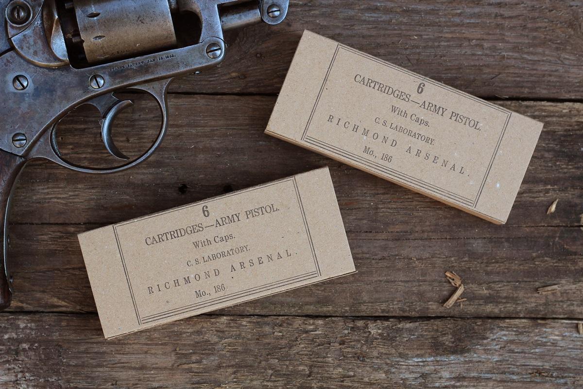Autêntico Richmond Arsenal Revolver Cartucho Caixa de papel para .36 Cal